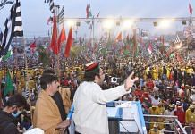 A Pakistan opposition alliance leader addresses a large gathering in Peshawar on 22 November | @MediaCellPPP | Twitter