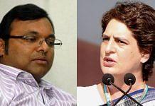 Congress leaders Karti Chidambaram and Priyanka Gandhi Vadra | Credit: Twitter/@INCIndia, Facebook/ Karti Chidambaram