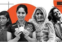 (From left) Ridhima Pandey, Manasi Joshi, Bilkis Bano and Isaivani | Image: ThePrint team