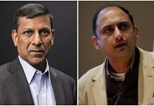 Former RBI governor Raghuram Rajan (L) and former RBI deputy governor Viral Acharya