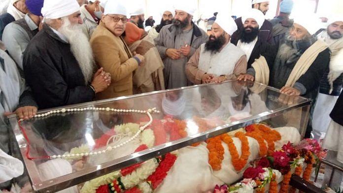 Followers attend Sant Baba Ram Singh's funeral at the Nanaksar Thath Gurudwara in Karnal Friday | Photo: Facebook | Sant Baba Ram Singh Ji