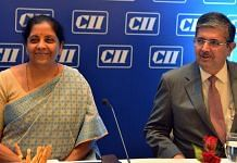 Finance Minister Nirmala Sitharaman with CII chief Uday Kotak   File photo: ANI