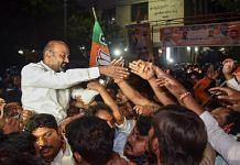 Telangana BJP chief Bandi Sanjay Kumar and party workers celebrate the Greater Hyderabad Municipal Corporation (GHMC) election results in Hyderabad on 4 December 2020 | PTI