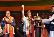 Assam cabinet minister and North East Democratic Alliance convenor, Himanta Biswa Sarma, addressing a public rally at Suklai Serfang in Baksa district ahead of the BTC polls | Twitter | @himantabiswa