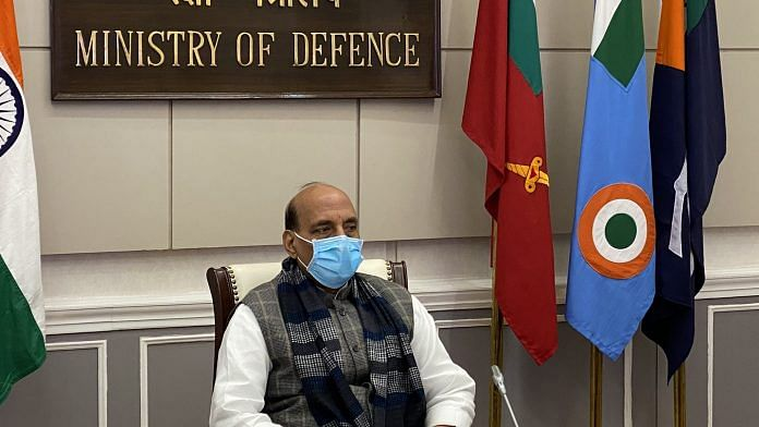 Defence Minister Rajnath Singh attending the Military Literature Festival-2020 via video conference | Twitter/@DefenceMinIndia