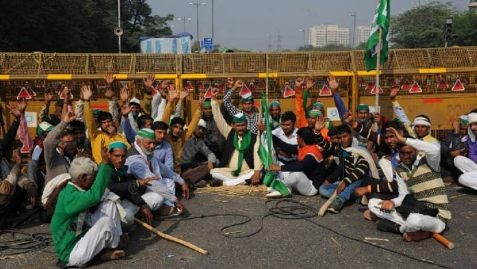 Farmers protest at the Delhi-Noida border, on 2 December 2020 | Suraj Singh Bisht | ThePrint