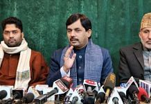 BJP national spokesperson Shahnawaz Hussain at the press conference in Srinagar on 8 December 20202 | Twitter | @ShahnawazBJP