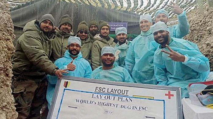 Army doctors and soldiers after performing an appendix surgery on the front line in eastern Ladakh last month   Photo: ANI