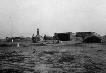 The Tigris Front, Iraq (formerly Mesopotamia), First Corps British Army camp sanitary area   View of closed incinerator, sweeper's tent, drying shed for litter and latrine huts   Radhika Singha/HarperCollins