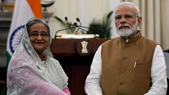 A file photo of Prime Minister Narendra Modi and his Bangladesh counterpart Sheikh Hasina. | Photo: ANI