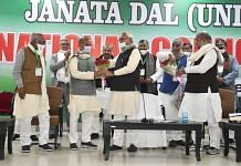 Bihar Chief Minister Nitish Kumar felicitating RCP Singh at his appointment as JD(U) national president in Patna on 27 December. | Photo: Twitter/@jduonline