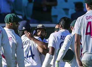 Indian skipper Ajinkya Rahane celebrates with the teammates on the 5th day of the third test match between Australia and India, at Sydney Cricket Ground on Monday. | ANI