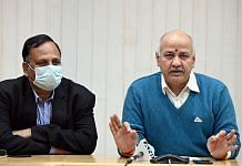 Delhi Deputy CM Manish Sisodia (right) and Health Minister Satyendar Jain at a press conference Thursday | Photo: ANI