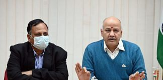 Delhi Deputy CM Manish Sisodia (right) and Health Minister Satyendar Jain at a press conference Thursday | Photo: ANI