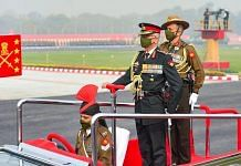 Army chief Gen. M.M. Naravane inspects the guard of honour at the 73rd Army Day event in New Delhi Friday | Photo: PTI