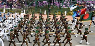 File photo | Bangladesh Armed Forces contingent at Rajpath during the full dress rehearsal for the Republic Day Parade, in New Delhi | PTI