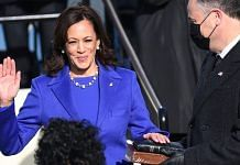Kamala Harris takes oath as the US Vice President during the inauguration ceremony in Washington, DC, on 20 January 2021 | Bloomberg