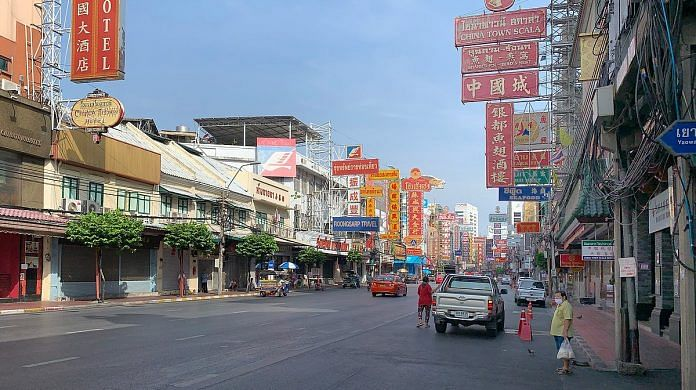 A deserted street in Bangkok's Chinatown