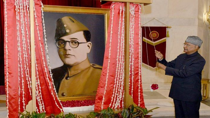 President Ram Nath Kovind unveils a portrait of Netaji Subhas Chandra Bose at Rashtrapati Bhavan on 23 January 2021 | Twitter | @rashtrapatibhvn