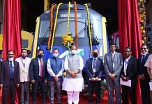 Defence Minister Rajnath Singh unveiled Driverless Metro Car at the BEML manufacturing facility in Bangalore | Twitter/@rajnathsingh