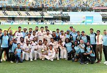 Team India celebrates after beating Australia in the Border-Gavaskar Trophy Test match in Brisbane on 19 January, 2021   Twitter@imVkohli