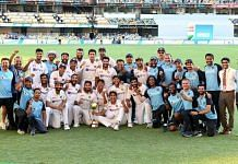 The Indian Test cricket team lifts the 2021 Border-Gavaskar Trophy at the Gabba in Brisbane Tuesday   Twitter   @ajinkyarahane88