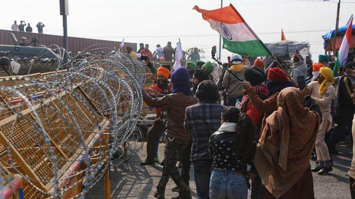 Protesting farmers at Singhu border on 26 January 2021 | Photo: Manisha Mondal | ThePrint