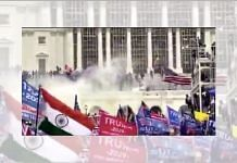 Screengrab of a video showing the Indian national flag at the protest outside Capitol Hill in Washington DC   Twitter