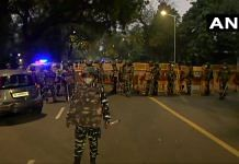 Security personnel near the Israel Embassy in Delhi | Twitter | ANI Photo