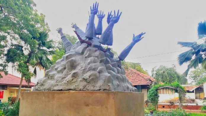 The structure that was erected in memory of civilians killed in the Mullivaikkal incident that happened in the last phase of the Sri Lankan civil war   Twitter   @mkstalin