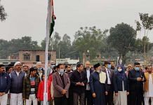 The flag hoisting ceremony at the mosque complex in Ayodhya on 26 January 2021 | By special arrangement