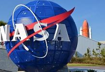 NASA logo at the Kennedy Space Center Visitor Complex in US