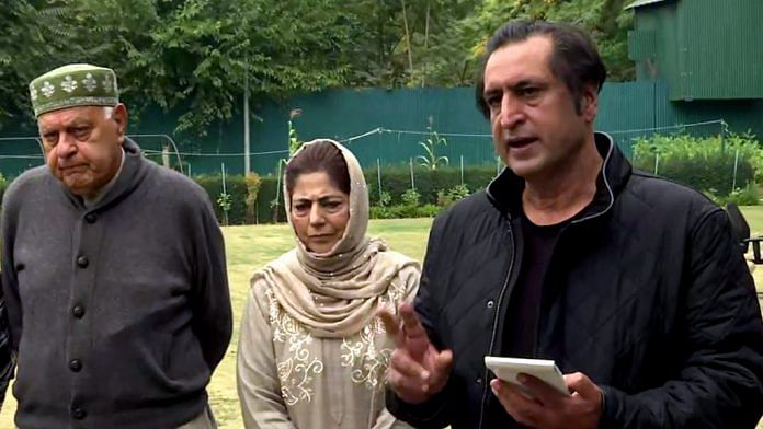 File image of Peoples Conference leader Sajad Lone (R) with Mehbooba Mufti of the PDP and Farooq Abdullah of the NC, who remain a part of the PAGD | ANI