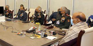 Defence Minister Rajnath Singh with CDS Gen Bipin Rawat, Army chief Gen MM Naravane, Navy Chief Admiral Karambir Singh, Air Chief Marshal R.K.S. Bhadauria   PIB