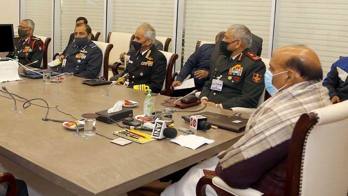 Defence Minister Rajnath Singh with CDS Gen Bipin Rawat, Army chief Gen MM Naravane, Navy Chief Admiral Karambir Singh, Air Chief Marshal R.K.S. Bhadauria | PIB