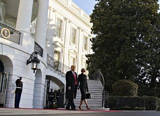 Donald Trump and Melania Trump exit the White House before boarding Marine One on the South Lawn in Washington, D.C., on 20 January   Photo via Bloomberg