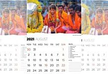 Picture of Priyanka Gandhi Vadra offering prayers at a Shiva temple in UP Congress calendar | Source: UP Congress