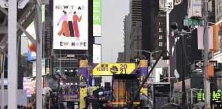 New Years Eve celebrations in the Times Square area of New York on 31 December 2020