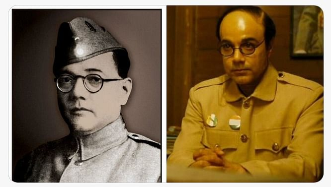 The photo of Subhas Chandra Bose that inspired the portrait and actor Prosenjit Chatterjee as Netaji in 'Gumnaami'