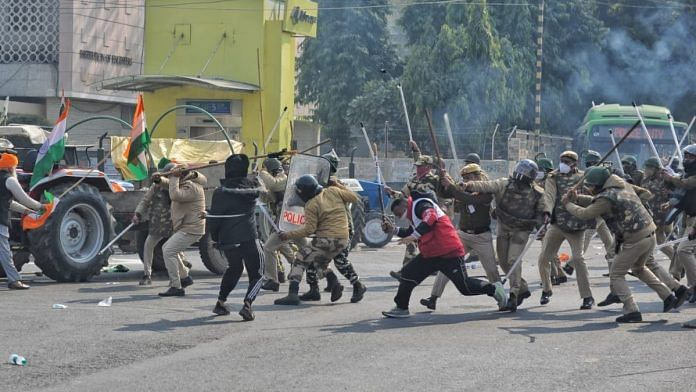 Protesting farmers clashed with police at several places in the national capital after tractor rally turned violent, on 26 January 2021