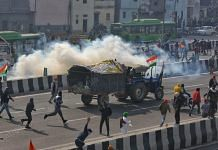 Protesting farmers clashed with police at several places in the national capital after tractor rally turned violent, on 26 January 2021 | Photo: Suraj Bisht Singh | ThePrint