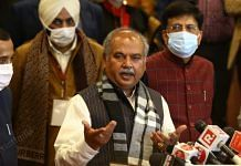 Agriculture Minister Narendra Singh Tomar speaks to the media after the 8th round of talks remained inconclusive | Photo: Suraj Singh Bisht | ThePrint