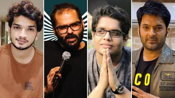 (From left to right) File photos of comedians Munawar Faruqui, Kunal Kamra, Tanmay Bhat and Kapil Sharma. | Photo: Twitter/Facebook