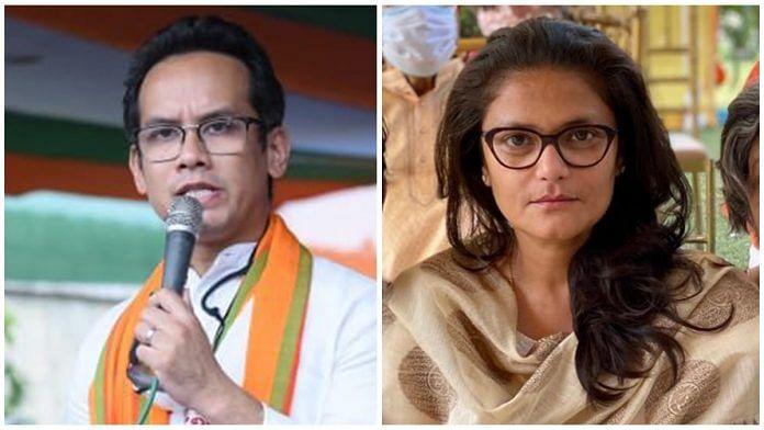 File photos of Congress leaders Gaurav Gogoi and Sushmita Dev. | Photo: Twitter