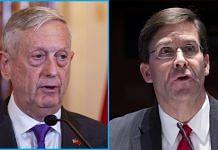 Former US defence secretaries James Mattis and Mark Esper   Bloomberg