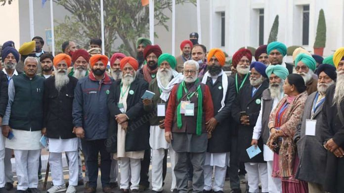 Farmer leaders after holding 11th round of meeting with government, at Vigyan Bhavan in New Delhi on 22 January 2021 | Manisha Mondal | ThePrint
