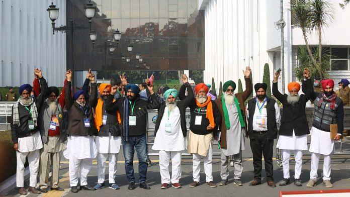 Representatives of farmer unions at Vigyan Bhawan in New Delhi on 20 January 2021