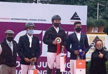 A file photo of Kekhriesilie Rio (centre), who has recently been ranked second in the world (category A) in equestrian show jumping. | Photo: Twitter/Neiphiu Rio