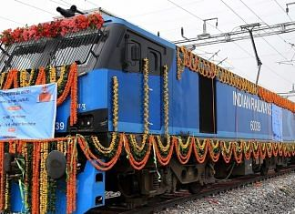 The inauguration of the 306-km New Rewari-New Madar section of the Western Dedicated Freight Corridor at the New Kishangarh station near Ajmer on 7 January.   Photo: ANI