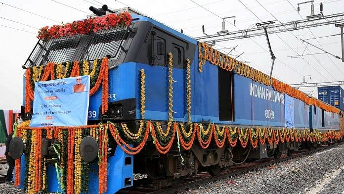 The inauguration of the 306-km New Rewari-New Madar section of the Western Dedicated Freight Corridor at the New Kishangarh station near Ajmer on 7 January. | Representational photo: ANI